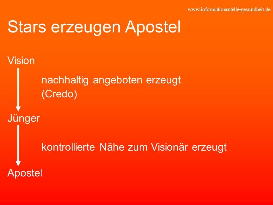 www.informationsstelle-gesundheit.de Stars erzeugen Apostel nachhaltig angeboten erzeugt (Credo) Vision Jünger Apostel kontrollierte Nähe zum Visionär