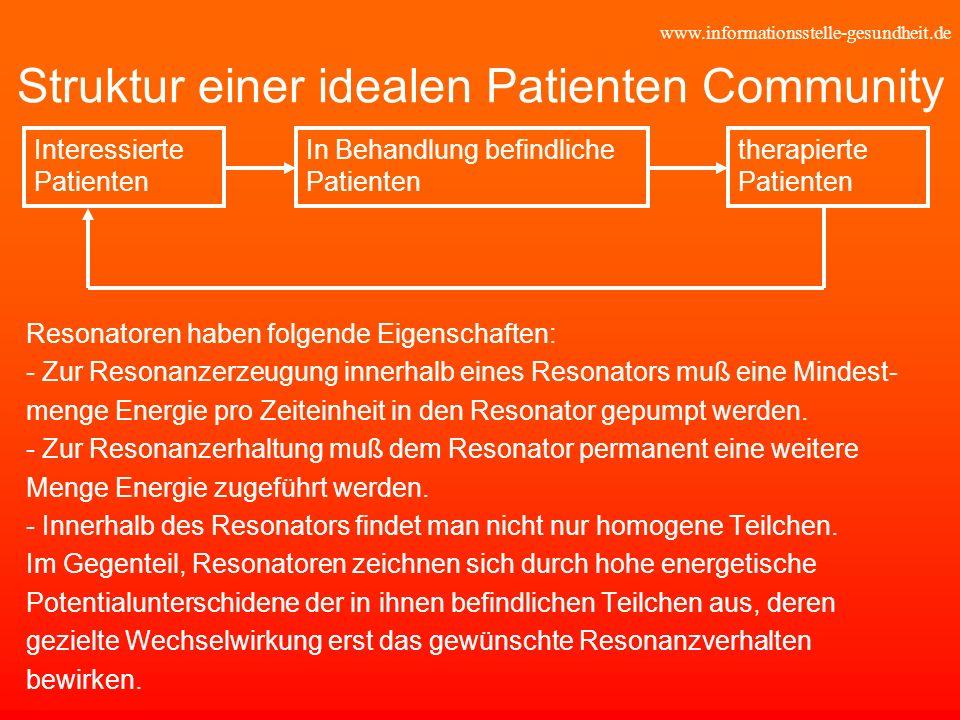 www.informationsstelle-gesundheit.de Struktur einer idealen Patienten Community Resonatoren haben folgende Eigenschaften: - Zur Resonanzerzeugung inne
