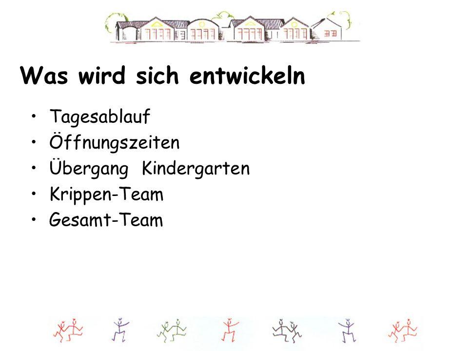Was wird sich entwickeln Tagesablauf Öffnungszeiten Übergang Kindergarten Krippen-Team Gesamt-Team