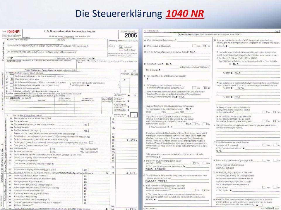 Die Steuererklärung 1040 NR 13