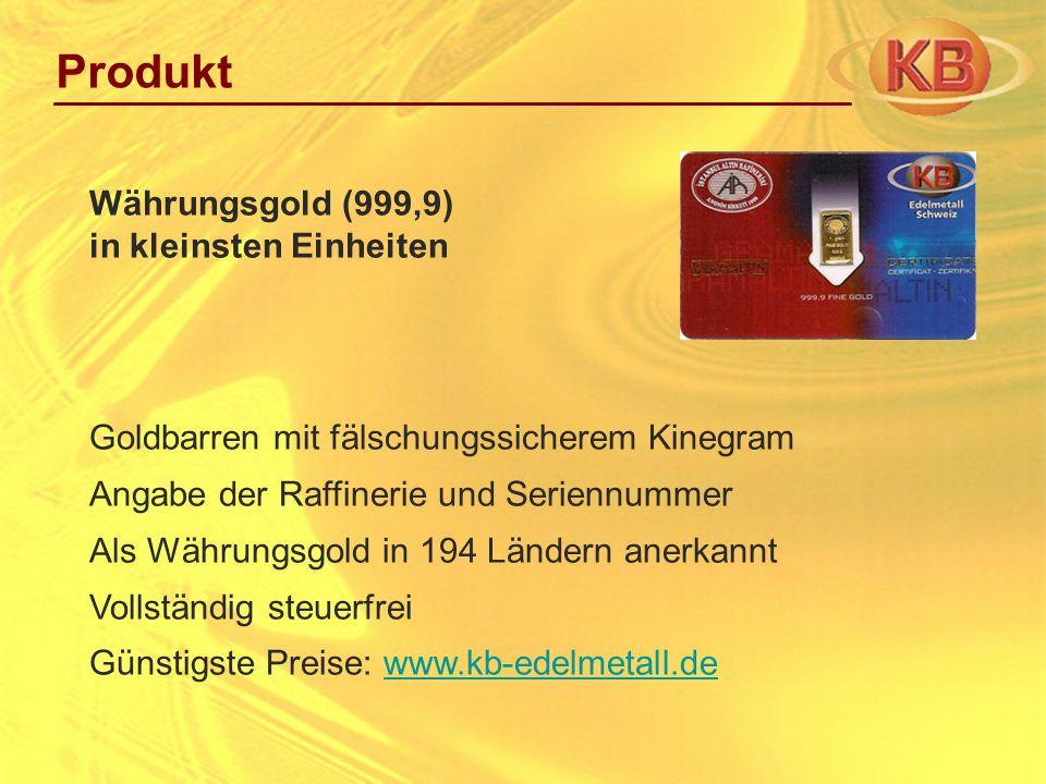 Goldbarren mit fälschungssicherem Kinegram Angabe der Raffinerie und Seriennummer Als Währungsgold in 194 Ländern anerkannt Vollständig steuerfrei Gün