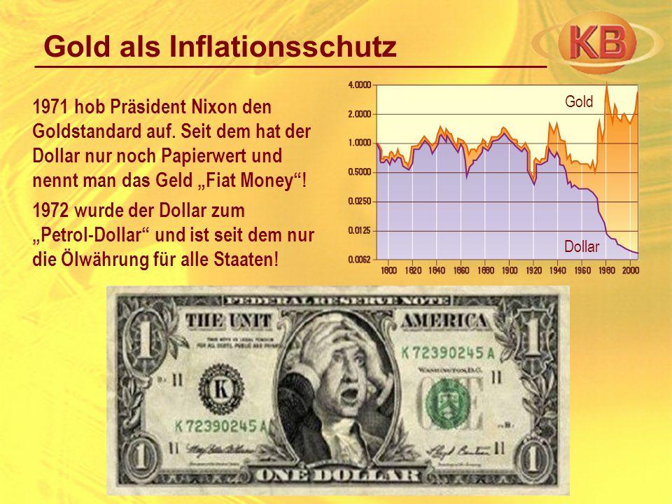 1971 hob Präsident Nixon den Goldstandard auf. Seit dem hat der Dollar nur noch Papierwert und nennt man das Geld Fiat Money! 1972 wurde der Dollar zu