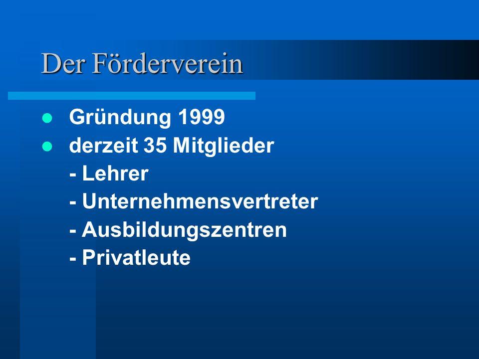 Der Förderverein Gründung 1999 derzeit 35 Mitglieder - Lehrer - Unternehmensvertreter - Ausbildungszentren - Privatleute