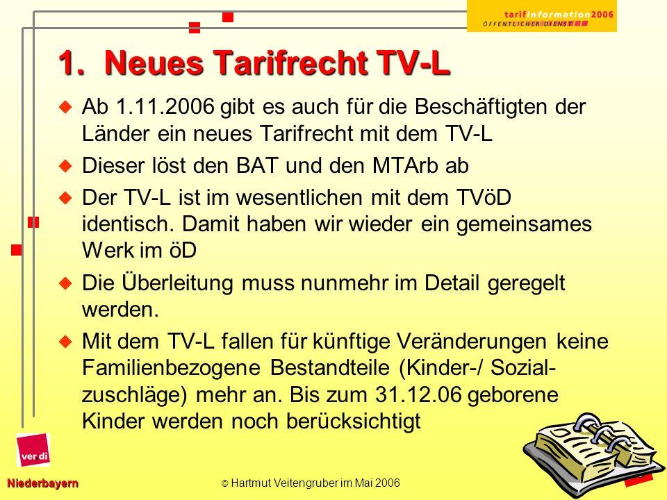 Niederbayern Niederbayern © Hartmut Veitengruber im Mai 2006 4 Entgelttabelle TV L ab 1.11.06