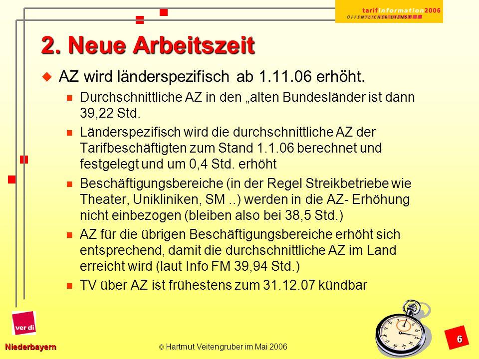 Niederbayern Niederbayern © Hartmut Veitengruber im Mai 2006 7 Übersicht der länderspezifischen Arbeitszeit