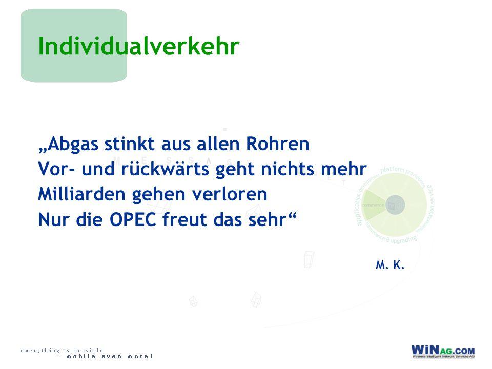 Individualverkehr Abgas stinkt aus allen Rohren Vor- und rückwärts geht nichts mehr Milliarden gehen verloren Nur die OPEC freut das sehr M.