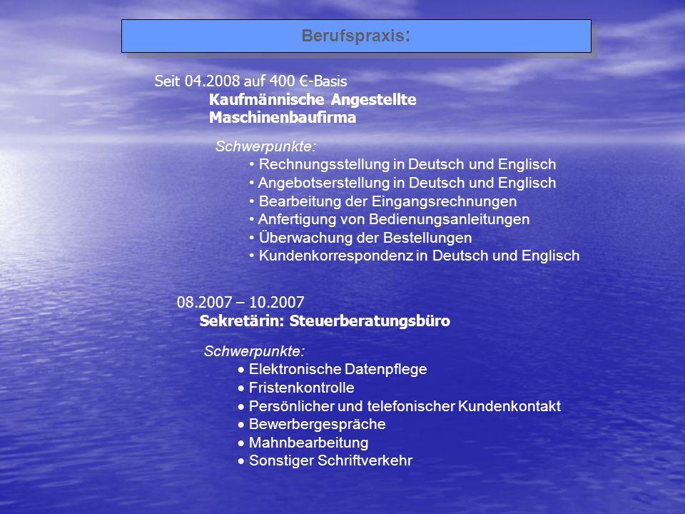 01.2000 – 08.2003 Regelmäßige Urlaubsvertretung Telefonzentrale / Empfang Rhenus Assets & Services GmbH & Co.