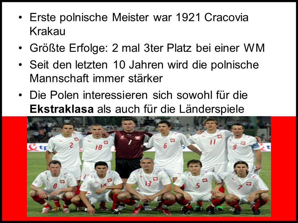 Fußball Fußball = Sport Nr.1 in Polen wie auch in vielen anderen Ländern Europas Polnische Verband = PZPN * 21.12.1919 Sitz in Warschau Das erste Spie