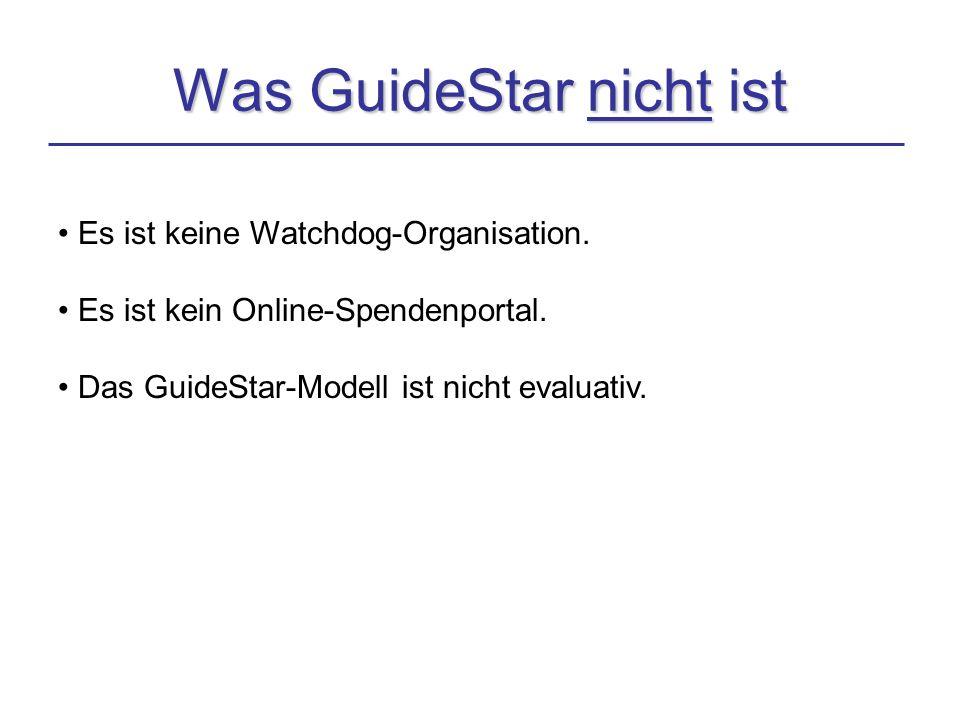 Was GuideStar nicht ist Es ist keine Watchdog-Organisation.