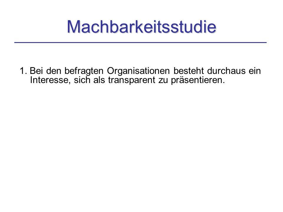 1. Bei den befragten Organisationen besteht durchaus ein Interesse, sich als transparent zu präsentieren. Machbarkeitsstudie