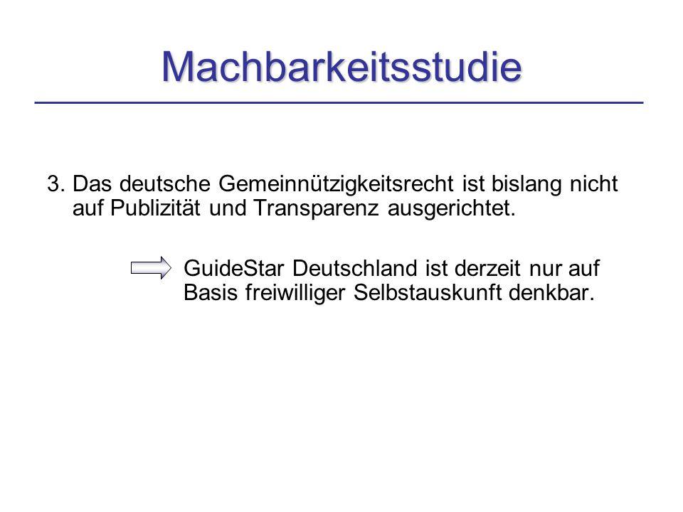3. Das deutsche Gemeinnützigkeitsrecht ist bislang nicht auf Publizität und Transparenz ausgerichtet. GuideStar Deutschland ist derzeit nur auf Basis