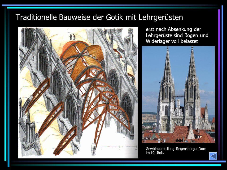 Traditionelle Bauweise der Gotik mit Lehrgerüsten erst nach Absenkung der Lehrgerüste sind Bogen und Widerlager voll belastet Gewölbeerstellung Regensburger Dom im 19.