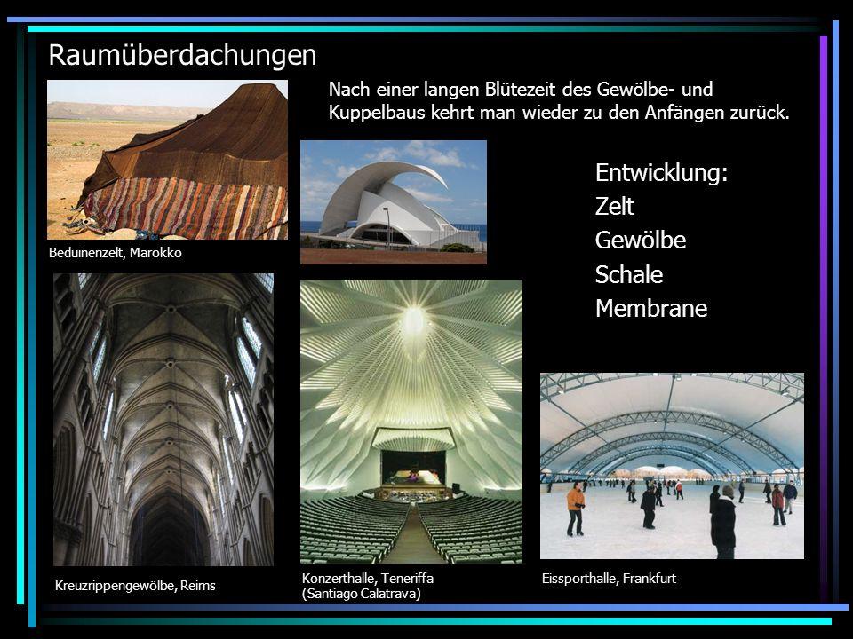 Raumüberdachungen Eissporthalle, Frankfurt Nach einer langen Blütezeit des Gewölbe- und Kuppelbaus kehrt man wieder zu den Anfängen zurück.