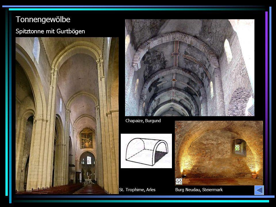 Tonnengewölbe Chapaize, Burgund Spitztonne mit Gurtbögen Burg Neudau, SteiermarkSt. Trophime, Arles