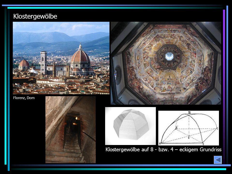 Klostergewölbe Florenz, Dom Klostergewölbe auf 8 - bzw. 4 – eckigem Grundriss