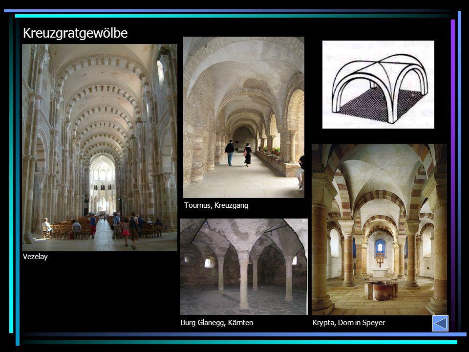 Kreuzgratgewölbe Krypta, Dom in Speyer Vezelay Burg Glanegg, Kärnten Tournus, Kreuzgang