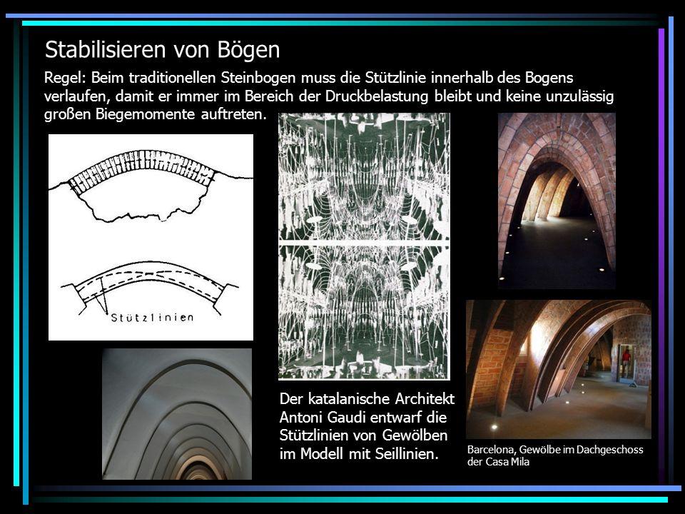 Moderne Lösung (teilweise Momentenbelastung) Haupttragwerk: Biegesteifer parabelförmiger Bogen als Zweigelenkbogen nimmt Druckkräfte und Biegemomente auf.