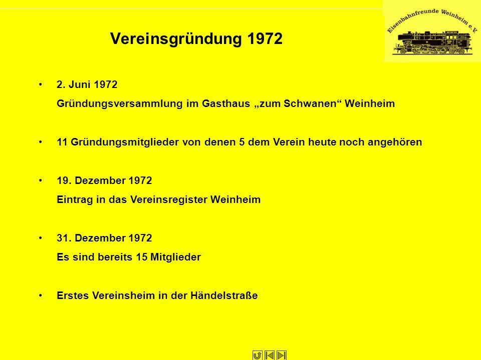 Vereinsgründung 1972 2. Juni 1972 Gründungsversammlung im Gasthaus zum Schwanen Weinheim 11 Gründungsmitglieder von denen 5 dem Verein heute noch ange