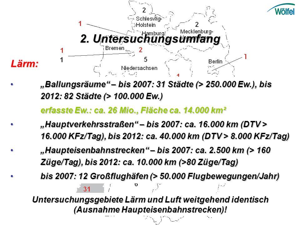 Lärm: Ballungsräume – bis 2007: 31 Städte (> 250.000 Ew.), bis 2012: 82 Städte (> 100.000 Ew.) Ballungsräume – bis 2007: 31 Städte (> 250.000 Ew.), bi