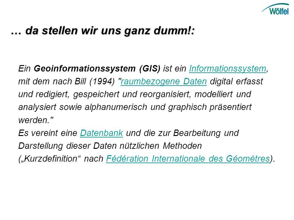 Ein Geoinformationssystem (GIS) ist ein Informationssystem, mit dem nach Bill (1994)