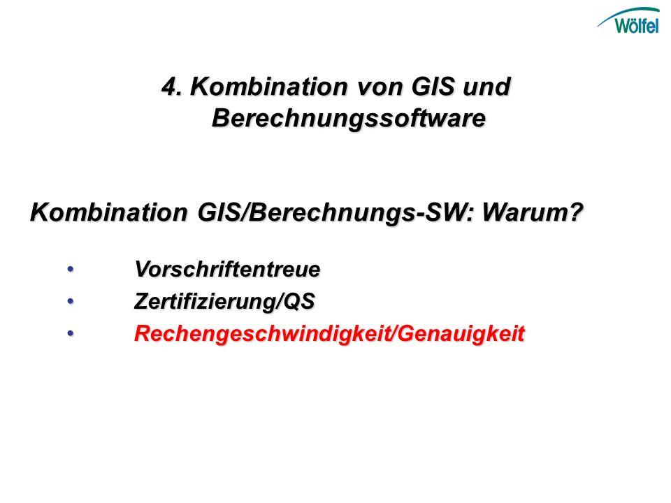 4. Kombination von GIS und Berechnungssoftware Vorschriftentreue Vorschriftentreue Zertifizierung/QSZertifizierung/QS Rechengeschwindigkeit/Genauigkei