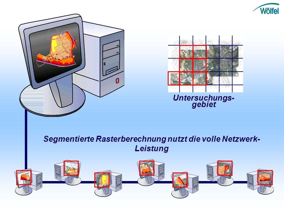 LeistungsbeschreibungBerechnungen Untersuchungs-gebiet Segmentierte Rasterberechnung nutzt die volle Netzwerk- Leistung