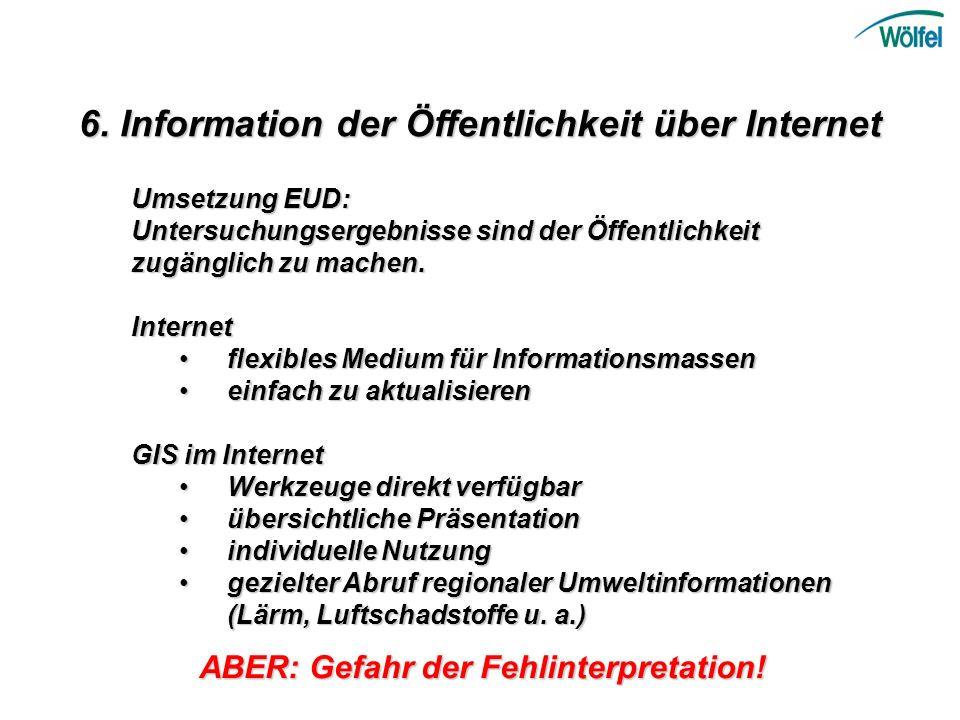6. Information der Öffentlichkeit über Internet Umsetzung EUD: Untersuchungsergebnisse sind der Öffentlichkeit zugänglich zu machen. Internet Internet