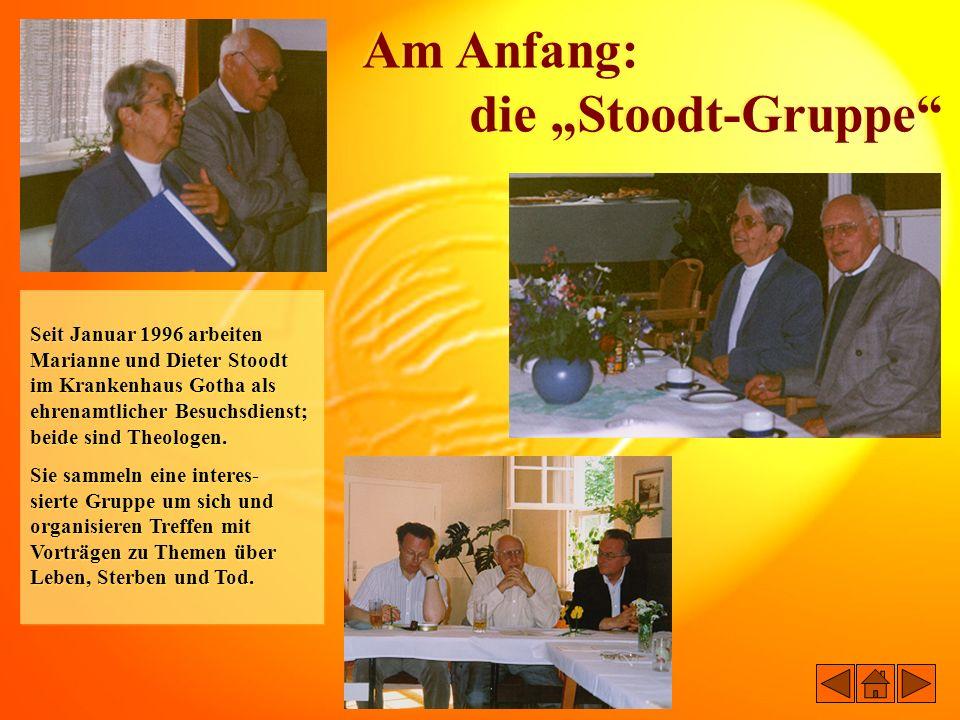 11.10.1997Gründung der Hospiz-Initiative Gotha und Wahl des ersten Vorstands: Frau Luzie Günther – Vorsitzende Herr Bernhard Liebe – stellv.
