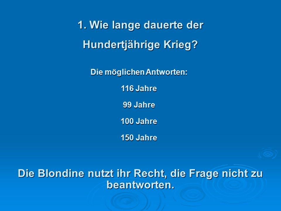 Der Test mit der Blondine. Eine Blondine nimmt an einem Intelligenzquiz in der Live TV Show teil.