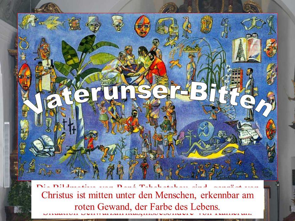 Die Bildmotive von René Tchebetchou sind geprägt von der gesellschaftlichen, wirtschaftlichen und kulturellen Situation Schwarzafrikas,insbesondere vo
