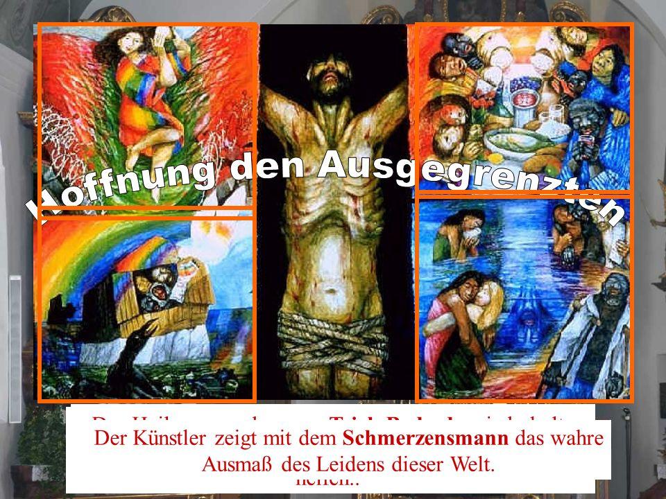 Das Hungertuch von Sieger Köder will den Grundauftrag von Misereor zum Teilen und zum Anders leben ins Bild bringen. Die Arche Noachs.inmitten der töd