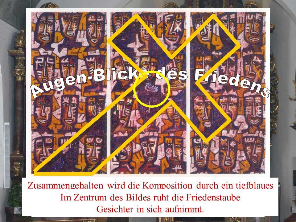 Auf diesem Hungertuch von El Loko aus Togo ist die Welt wie ein aus Menschengesichtern gewobener Teppich dargestellt. Zusammengehalten wird die Kompos