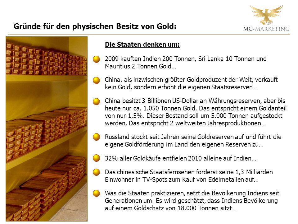 Gründe für den physischen Besitz von Gold: Die Staaten denken um: 2009 kauften Indien 200 Tonnen, Sri Lanka 10 Tonnen und Mauritius 2 Tonnen Gold… Chi
