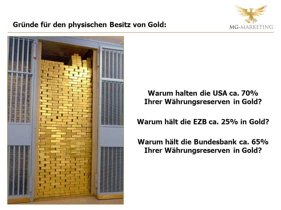 Gründe für den physischen Besitz von Gold: Warum halten die USA ca. 70% Ihrer Währungsreserven in Gold? Warum hält die EZB ca. 25% in Gold? Warum hält