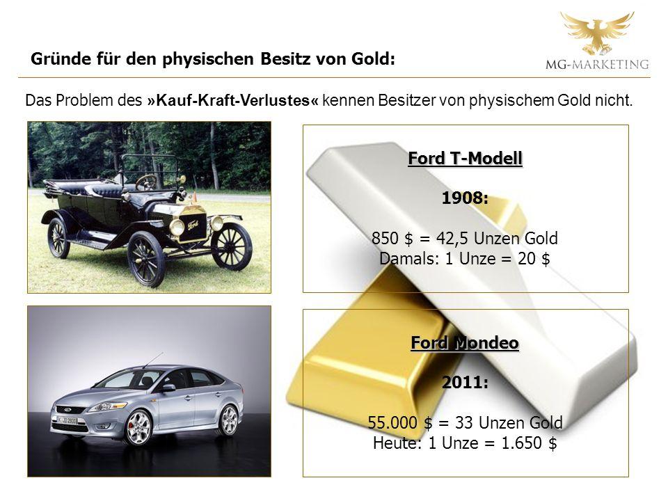 Gründe für den physischen Besitz von Gold: Das Problem des »Kauf-Kraft-Verlustes« kennen Besitzer von physischem Gold nicht. Ford T-Modell Ford T-Mode
