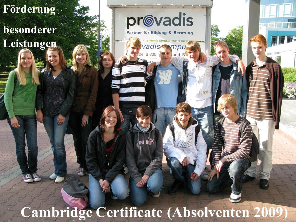 Förderung besonderer Leistungen Cambridge Certificate (Absolventen 2009)