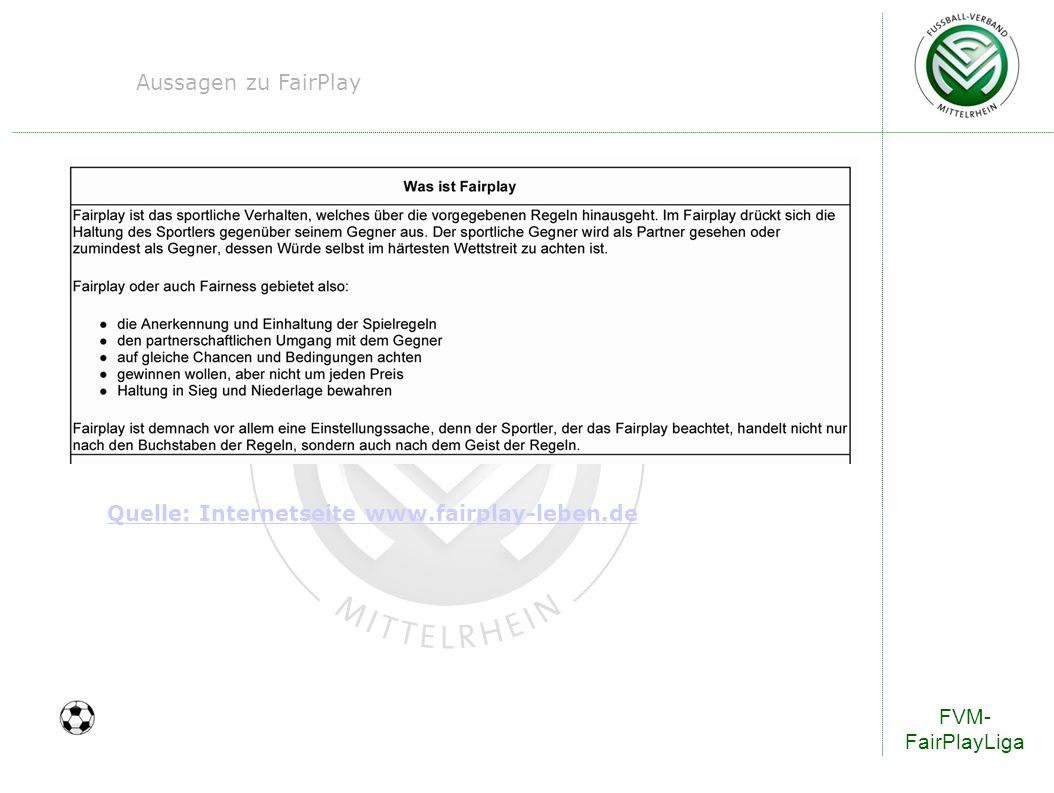 FVM- FairPlayLiga Aussagen zu FairPlay Quelle: Internetseite www.fairplay-leben.de