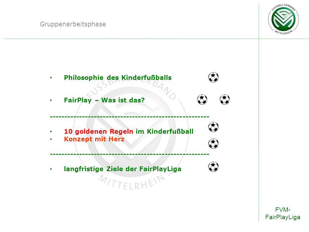 FVM- FairPlayLiga FairPlayLiga – Regeln F-Junioren-Spielfeld 30 - 35m 40m Platzlänge 90 bis 120m Fanzone