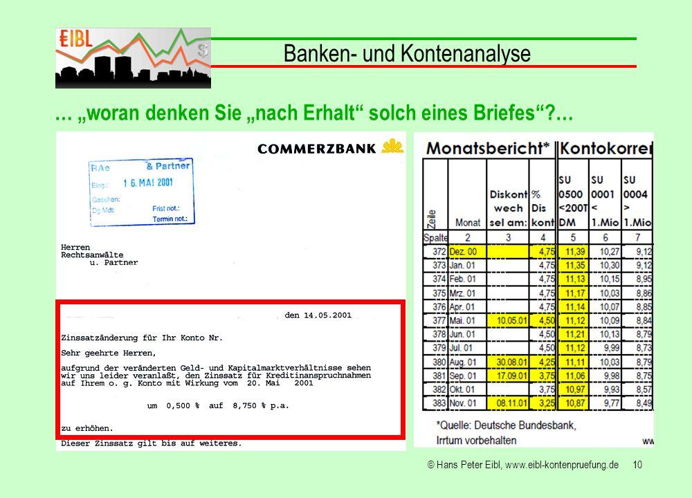 10© Hans Peter Eibl, www.eibl-kontenpruefung.de Banken- und Kontenanalyse … woran denken Sie nach Erhalt solch eines Briefes?…