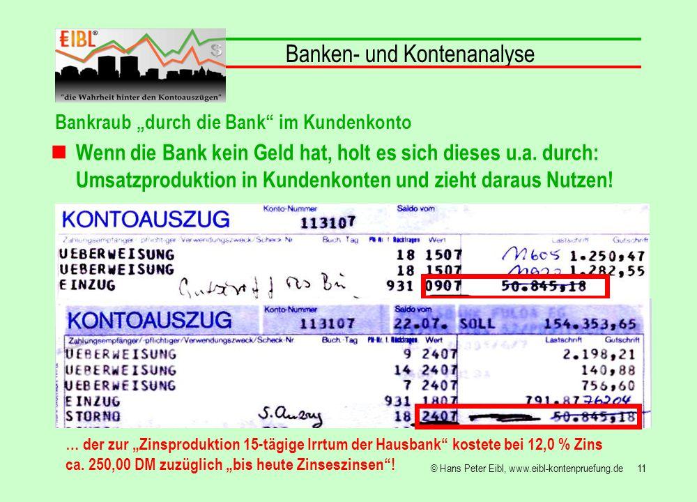 11© Hans Peter Eibl, www.eibl-kontenpruefung.de Banken- und Kontenanalyse … der zur Zinsproduktion 15-tägige Irrtum der Hausbank kostete bei 12,0 % Zi