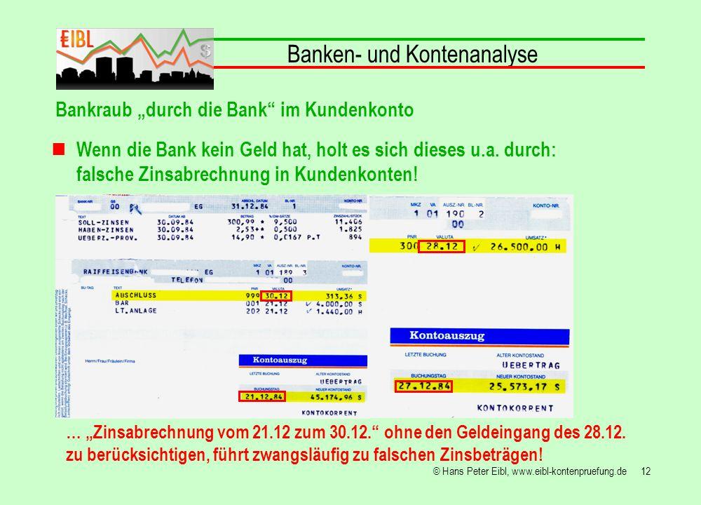 12© Hans Peter Eibl, www.eibl-kontenpruefung.de Banken- und Kontenanalyse Bankraub durch die Bank im Kundenkonto Wenn die Bank kein Geld hat, holt es