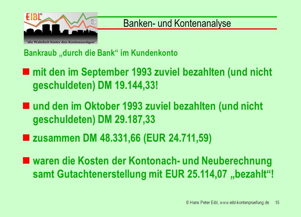 15© Hans Peter Eibl, www.eibl-kontenpruefung.de Banken- und Kontenanalyse Bankraub durch die Bank im Kundenkonto mit den im September 1993 zuviel beza