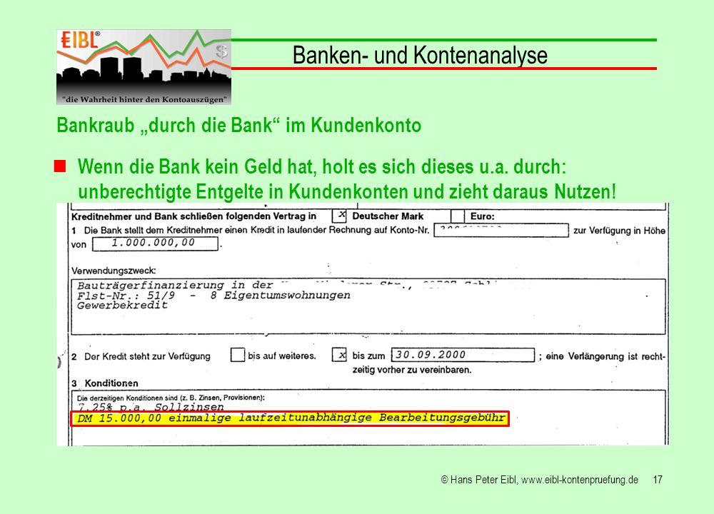 17© Hans Peter Eibl, www.eibl-kontenpruefung.de Banken- und Kontenanalyse Bankraub durch die Bank im Kundenkonto Wenn die Bank kein Geld hat, holt es