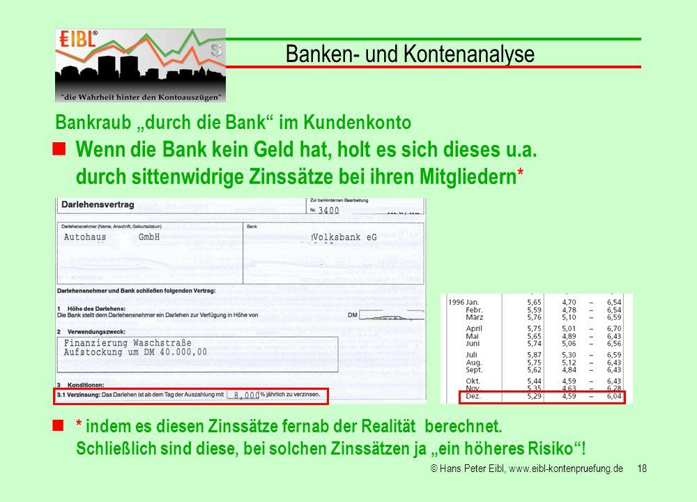 18© Hans Peter Eibl, www.eibl-kontenpruefung.de Banken- und Kontenanalyse Bankraub durch die Bank im Kundenkonto Wenn die Bank kein Geld hat, holt es