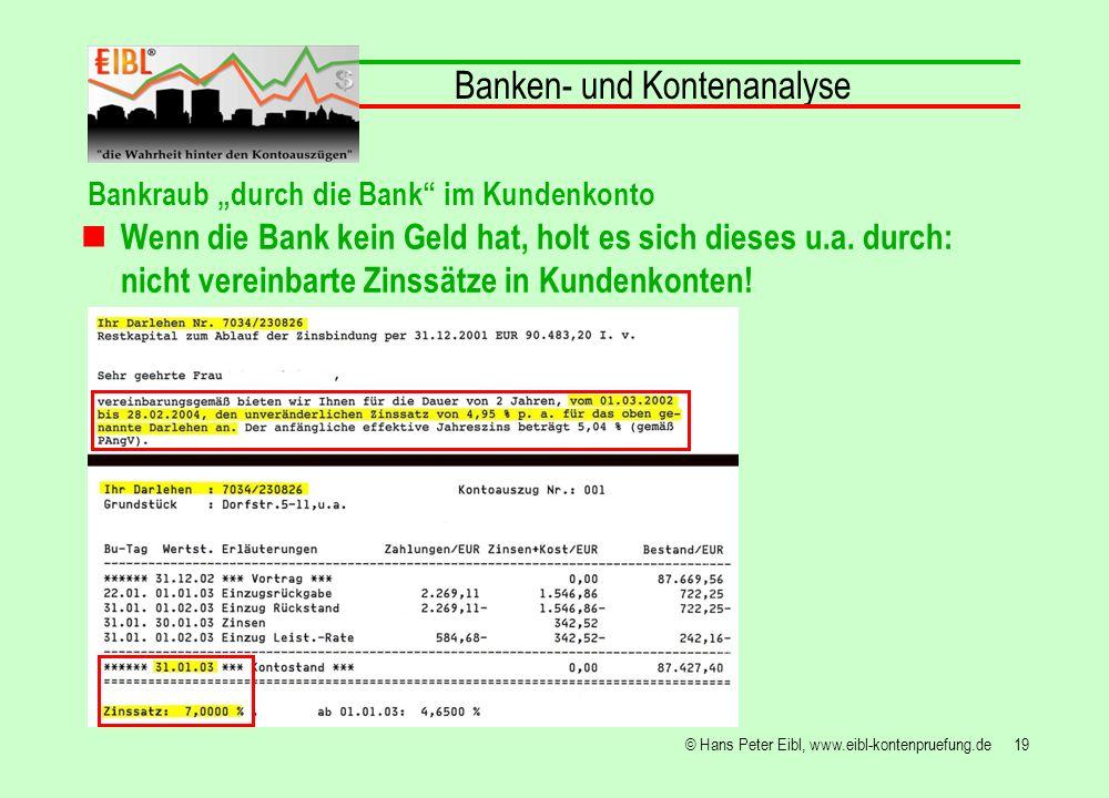 19© Hans Peter Eibl, www.eibl-kontenpruefung.de Banken- und Kontenanalyse Bankraub durch die Bank im Kundenkonto Wenn die Bank kein Geld hat, holt es