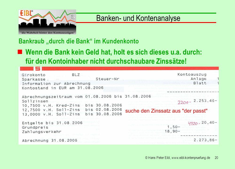 20© Hans Peter Eibl, www.eibl-kontenpruefung.de Banken- und Kontenanalyse Bankraub durch die Bank im Kundenkonto Wenn die Bank kein Geld hat, holt es