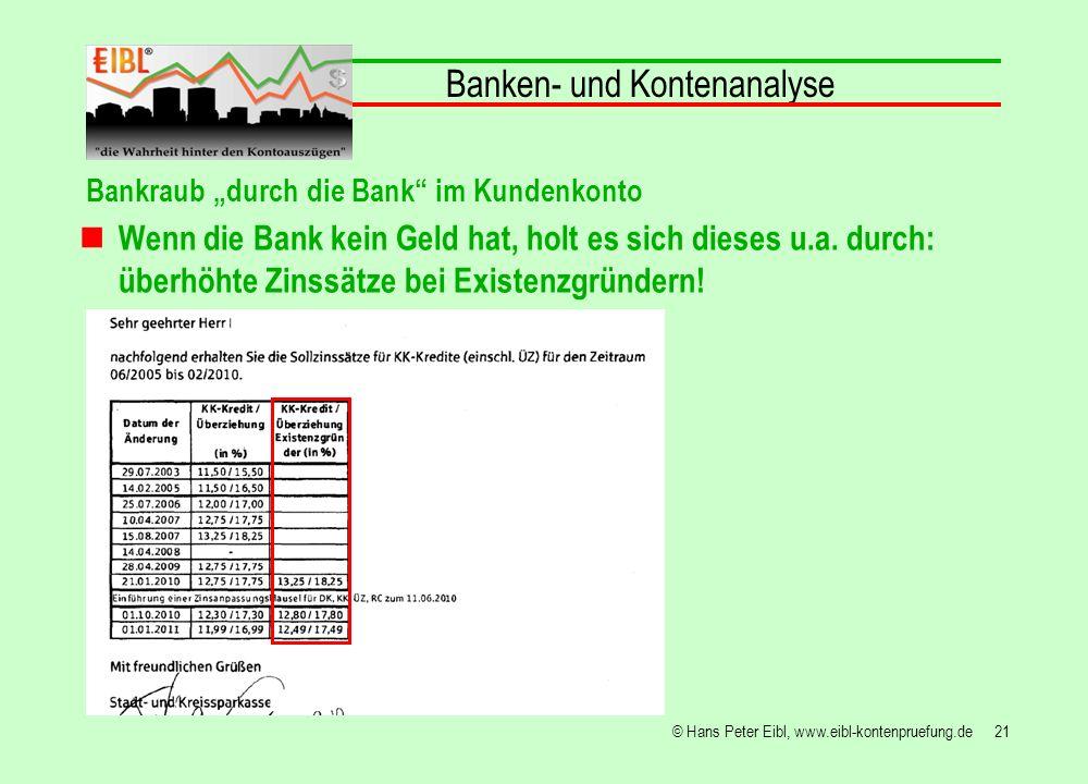 21© Hans Peter Eibl, www.eibl-kontenpruefung.de Banken- und Kontenanalyse Bankraub durch die Bank im Kundenkonto Wenn die Bank kein Geld hat, holt es