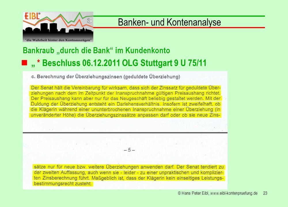 23© Hans Peter Eibl, www.eibl-kontenpruefung.de Banken- und Kontenanalyse Bankraub durch die Bank im Kundenkonto * Beschluss 06.12.2011 OLG Stuttgart