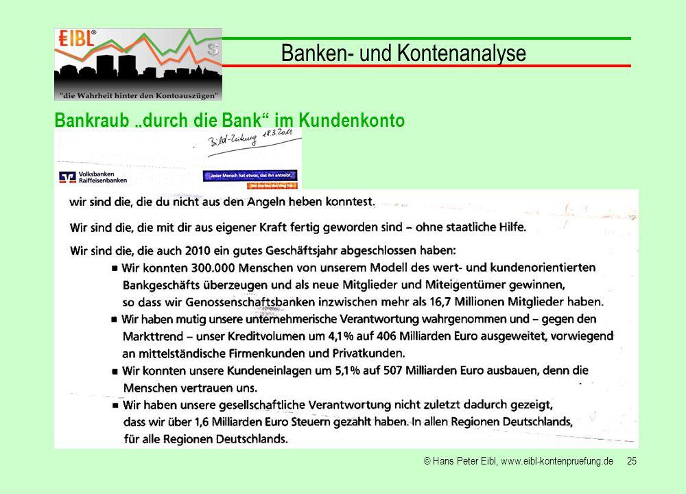 25© Hans Peter Eibl, www.eibl-kontenpruefung.de Banken- und Kontenanalyse Bankraub durch die Bank im Kundenkonto