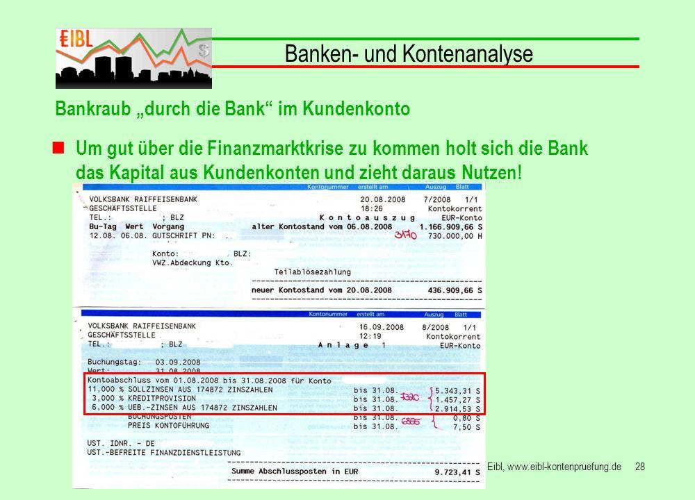 28© Hans Peter Eibl, www.eibl-kontenpruefung.de Banken- und Kontenanalyse Bankraub durch die Bank im Kundenkonto Um gut über die Finanzmarktkrise zu k